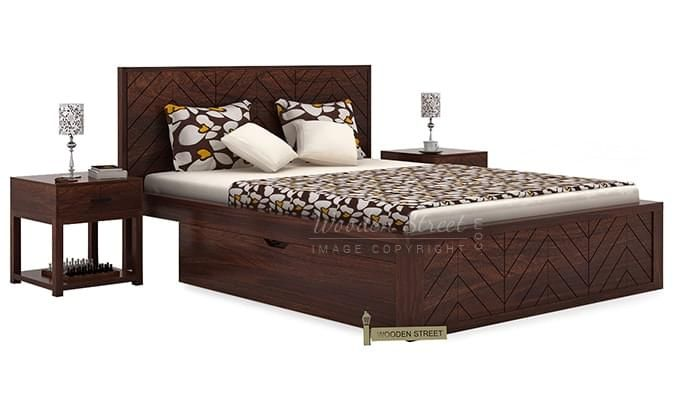 Neeson Bed With Storage (King Size, Walnut Finish)-1