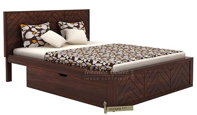 Neeson Bed With Storage (King Size, Walnut Finish)-3