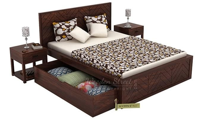 Neeson Bed With Storage (King Size, Walnut Finish)-6