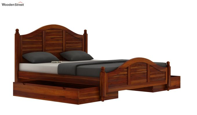 Nordic Bed With Storage (King Size, Honey Finish)-6