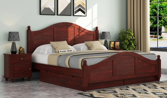 Nordic Bed With Storage (Queen Size, Mahogany Finish)-1