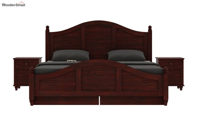 Nordic Bed With Storage (King Size, Mahogany Finish)-5