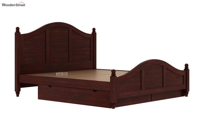 Nordic Bed With Storage (King Size, Mahogany Finish)-7
