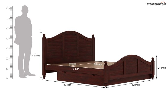 Nordic Bed With Storage (Queen Size, Mahogany Finish)-9