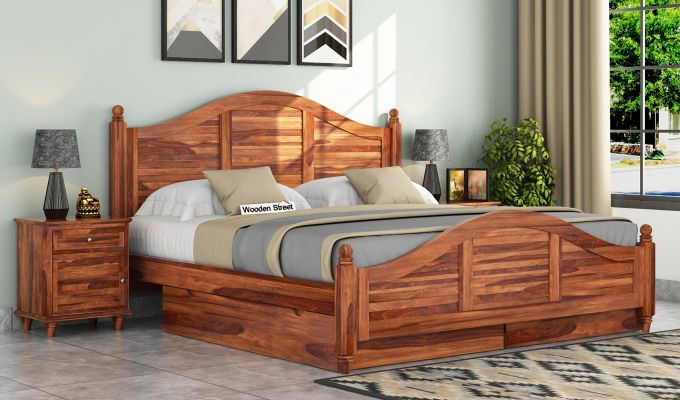 Nordic Bed With Storage (Queen Size, Teak Finish)-1