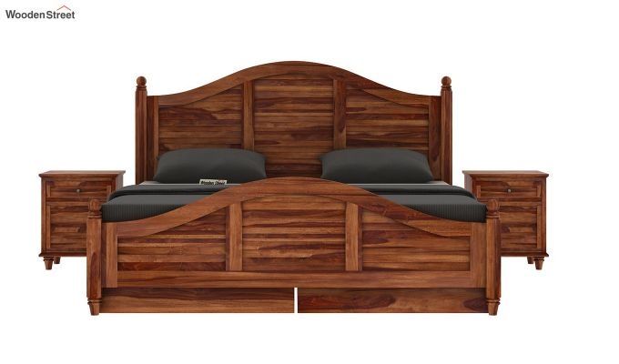 Nordic Bed With Storage (Queen Size, Teak Finish)-5