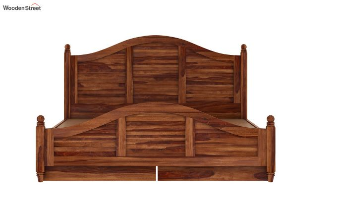 Nordic Bed With Storage (Queen Size, Teak Finish)-8