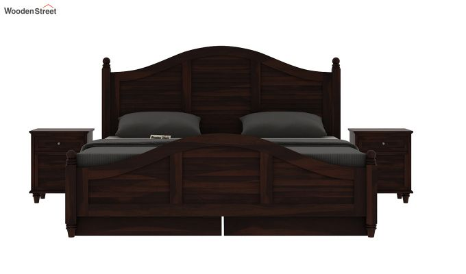 Nordic Bed With Storage (King Size, Walnut Finish)-5