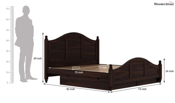 Nordic Bed With Storage (King Size, Walnut Finish)-9