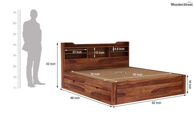 Oretta Bed With Storage (Queen Size,Teak Finish)-10
