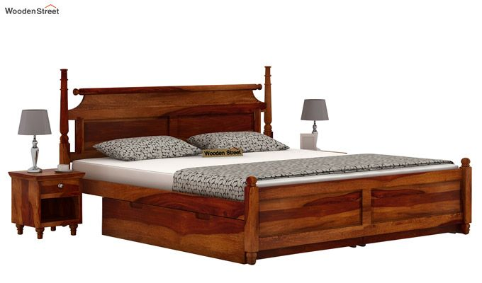 Oriel Bed With Storage (King Size, Honey Finish)-1