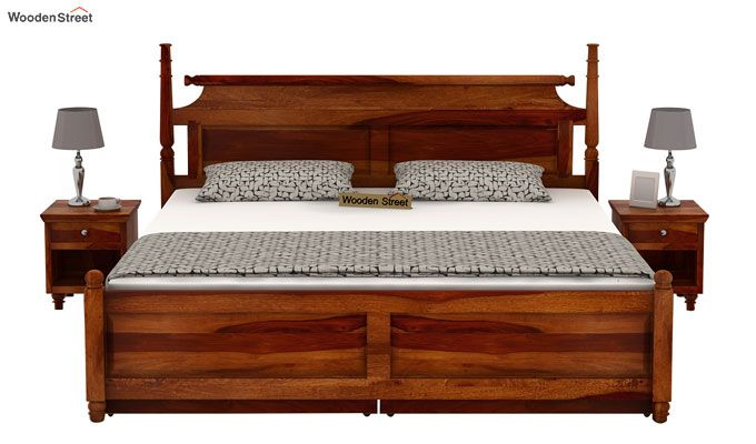 Oriel Bed With Storage (King Size, Honey Finish)-2