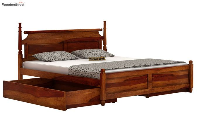 Oriel Bed With Storage (King Size, Honey Finish)-4