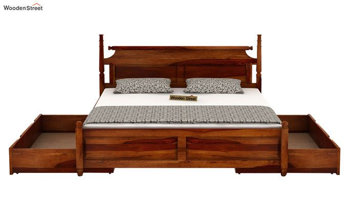 Oriel Bed With Storage (King Size, Honey Finish)-5