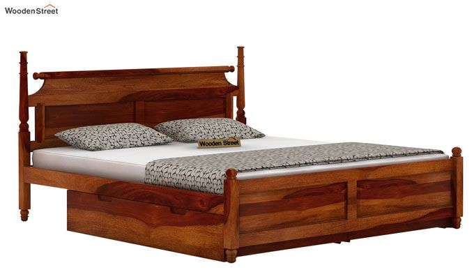 Oriel Bed With Storage (King Size, Honey Finish)-3