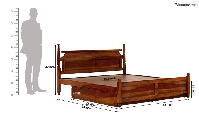 Oriel Bed With Storage (Queen Size, Honey Finish)-7