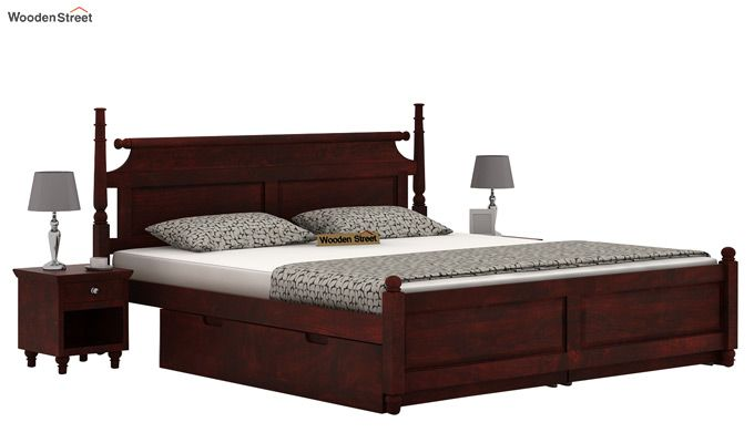 Oriel Bed With Storage (King Size, Mahogany Finish)-1