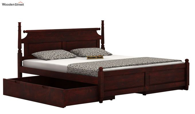 Oriel Bed With Storage (Queen Size, Mahogany Finish)-4
