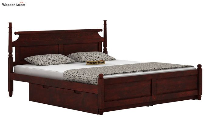 Oriel Bed With Storage (Queen Size, Mahogany Finish)-3