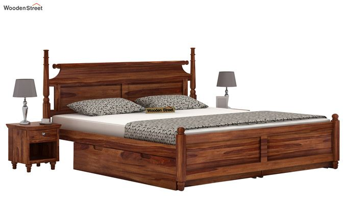 Oriel Bed With Storage (King Size, Teak Finish)-1