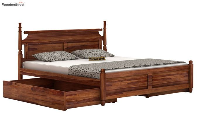Oriel Bed With Storage (King Size, Teak Finish)-4