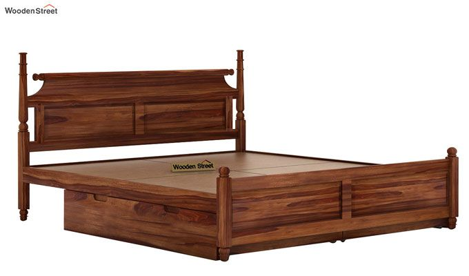 Oriel Bed With Storage (King Size, Teak Finish)-6