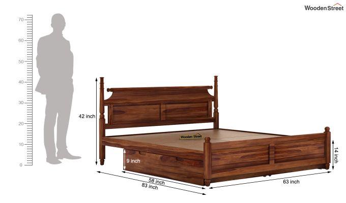 Oriel Bed With Storage (Queen Size, Teak Finish)-7