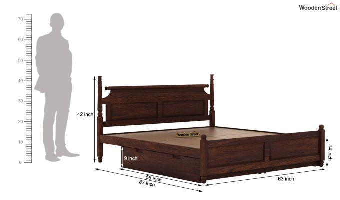Oriel Bed With Storage (Queen Size, Walnut Finish)-8