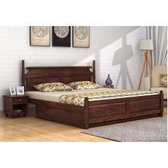 Oriel Bed With Storage (King Size, Walnut Finish)