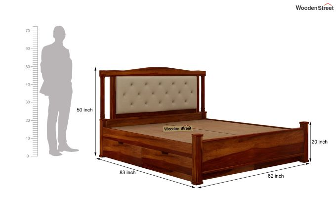 Ornat Bed With Storage (Queen Size, Honey Finish)-9