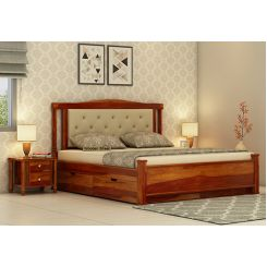Ornat Bed With Storage (Queen Size, Honey Finish)