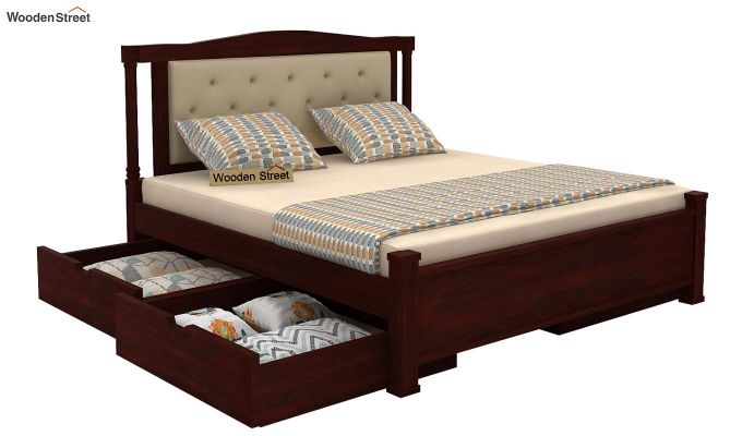 Ornat Bed With Storage (Queen Size, Mahogany Finish)-3