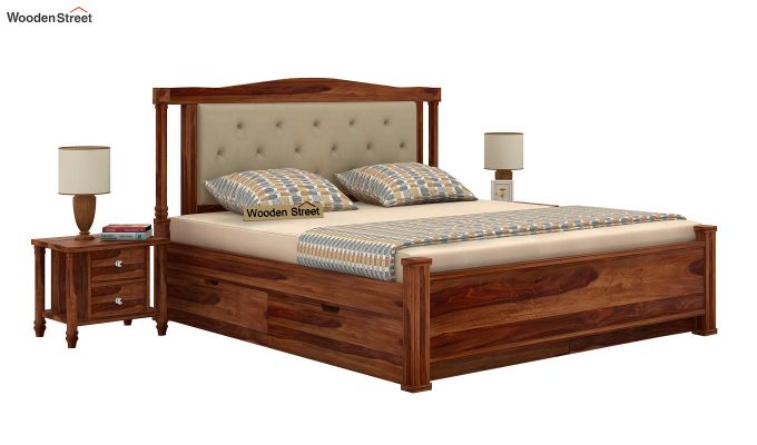 Ornat Bed With Storage (Queen Size, Teak Finish)-1