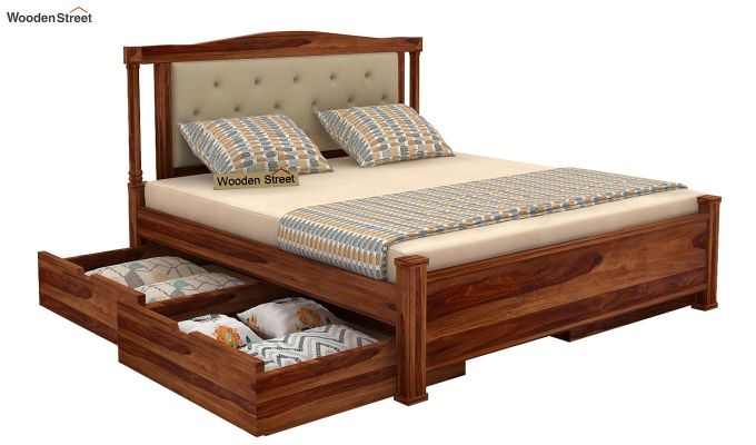 Ornat Bed With Storage (Queen Size, Teak Finish)-3