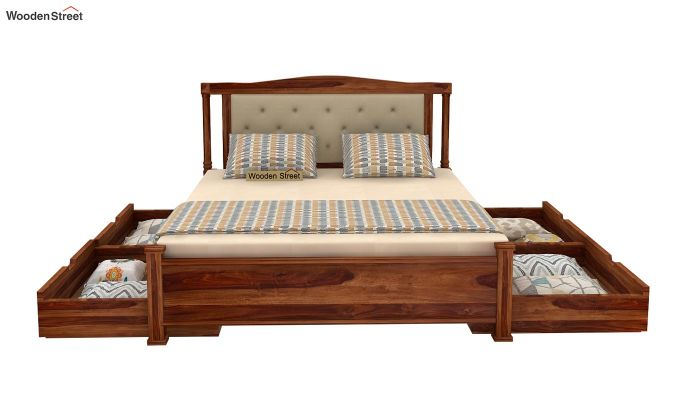 Ornat Bed With Storage (Queen Size, Teak Finish)-4