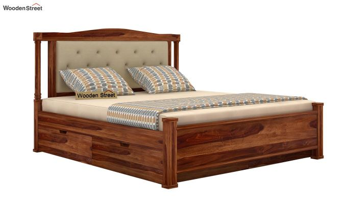 Ornat Bed With Storage (Queen Size, Teak Finish)-5