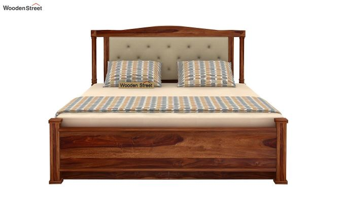 Ornat Bed With Storage (Queen Size, Teak Finish)-6