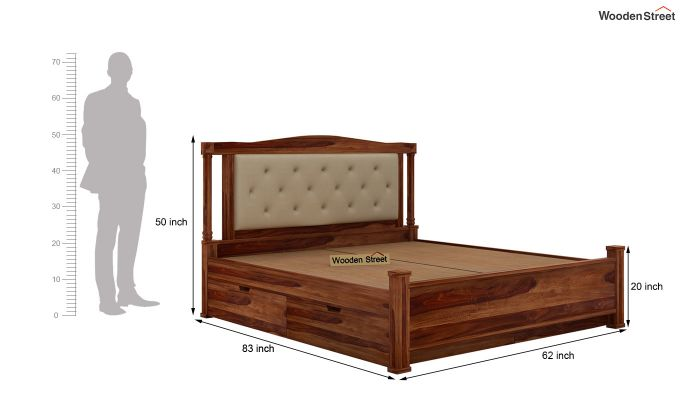 Ornat Bed With Storage (Queen Size, Teak Finish)-8