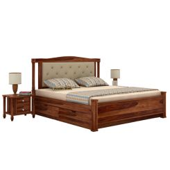Ornat Bed With Storage (Queen Size, Teak Finish)