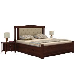 Ornat Bed With Storage (Queen Size, Walnut Finish)