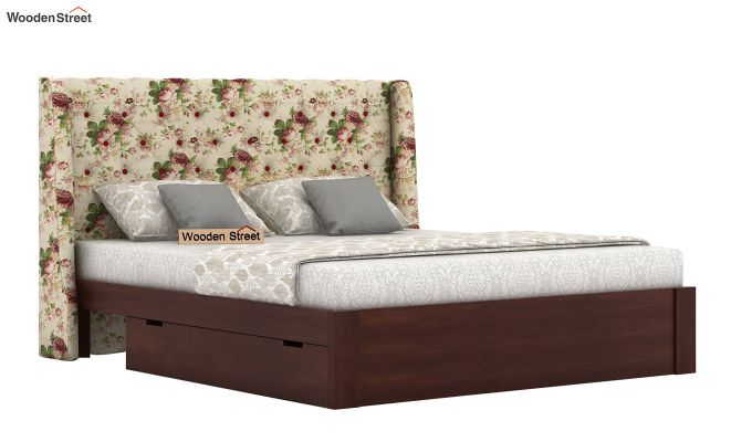 Pheobe Upholstered Bed With Storage (King Size, Cream Blossom)-2