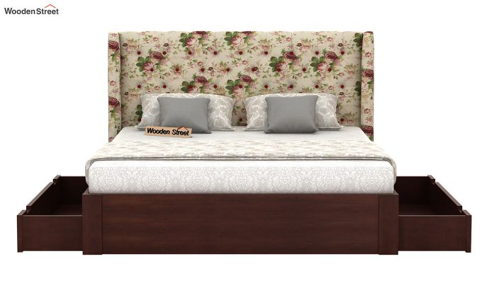 Pheobe Upholstered Bed With Storage (King Size, Cream Blossom)-5