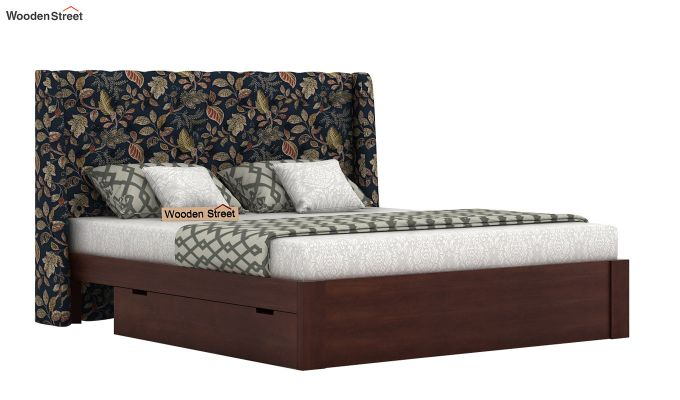 Pheobe Upholstered Bed With Storage (King Size, Dusky Leaf)-2