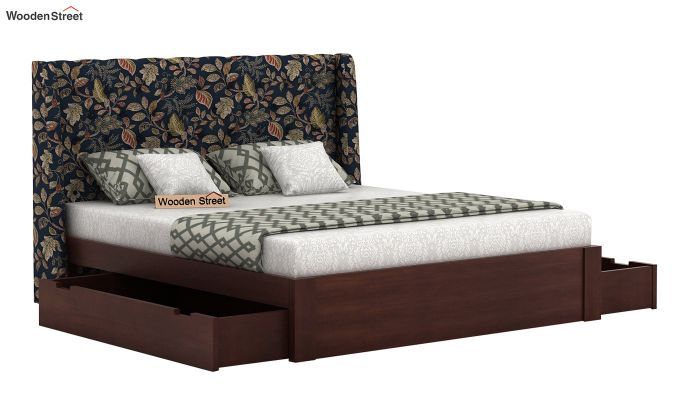 Pheobe Upholstered Bed With Storage (King Size, Dusky Leaf)-4