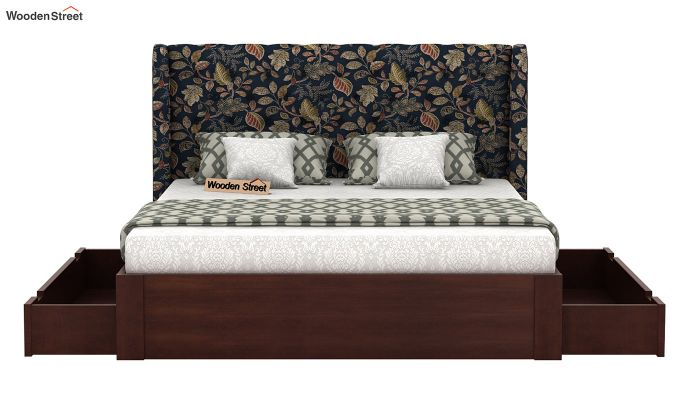 Pheobe Upholstered Bed With Storage (King Size, Dusky Leaf)-5