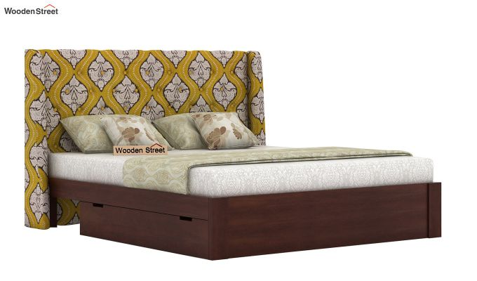 Pheobe Upholstered Bed With Storage (King Size, Mustard Coral)-2