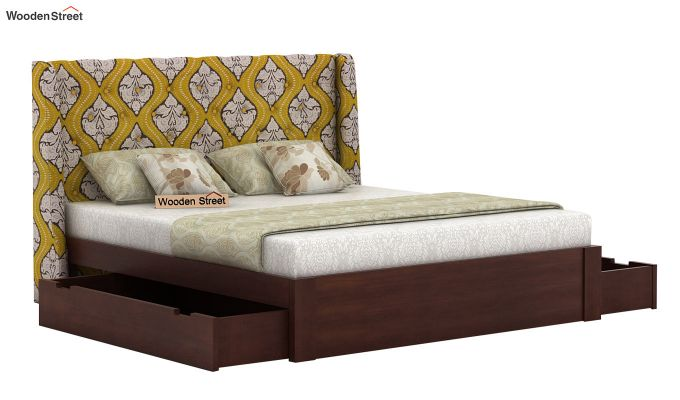 Pheobe Upholstered Bed With Storage (King Size, Mustard Coral)-4