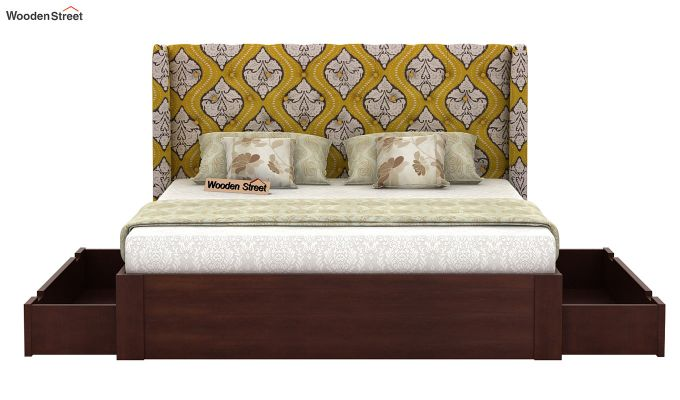 Pheobe Upholstered Bed With Storage (King Size, Mustard Coral)-5