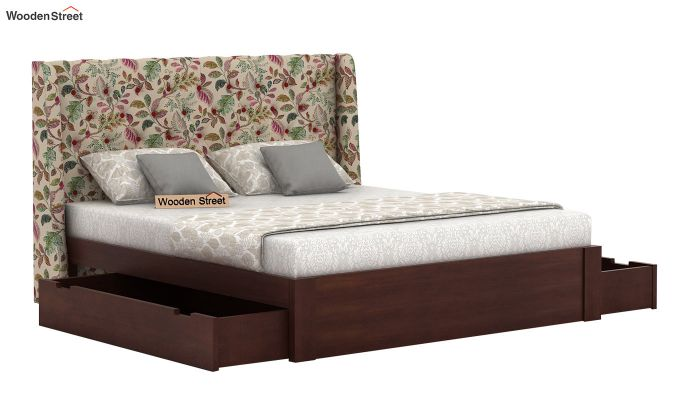 Pheobe Upholstered Bed With Storage (King Size, Rosy Leaf)-4