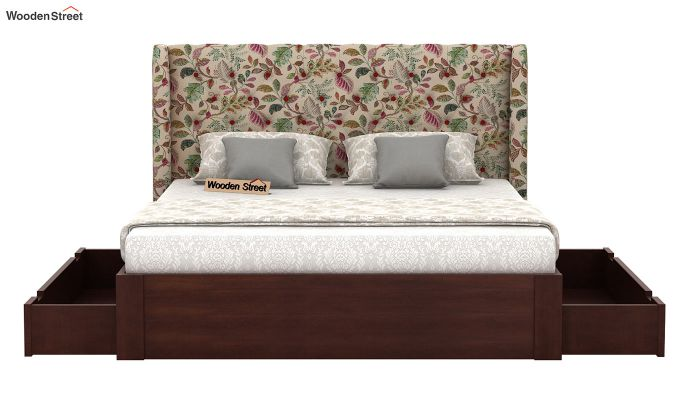 Pheobe Upholstered Bed With Storage (King Size, Rosy Leaf)-5